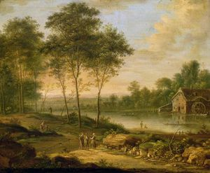 Johann Christian Vollerdt Or Vollaert - Landscape With A Mill