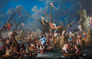 Johann Georg Platzer - Antony And Cleopatra At The Battle Of Actium