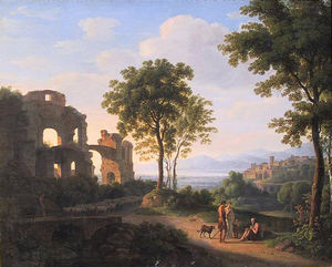 Johann Nepomuk Schödlberger - Sunlit Ruin Landscape With A Family On A Way And Shepherd With Sheeps