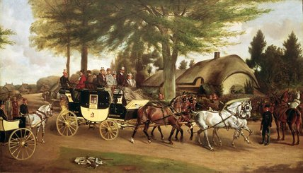 The Bath And Devizes Coach by John Alfred Wheeler (1821-1903, United Kingdom) | Painting Copy | WahooArt.com
