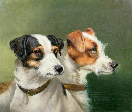 Two Fox Terriers by John Alfred Wheeler (1821-1903, United Kingdom)