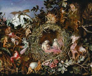 John Anster Fitzgerald - Fairies In A Bird's Nest