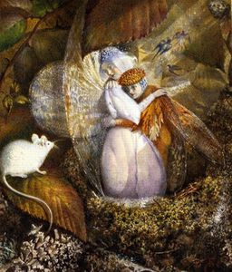John Anster Fitzgerald - Fairy Lovers In A Bird's Nest Watching A White