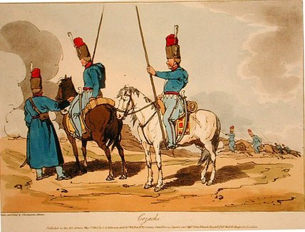 Cossacks,, 1803 by John Augustus Atkinson (1775-1833, United Kingdom) | Painting Copy | WahooArt.com