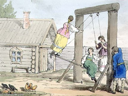 The Swing, Plate - (84) by John Augustus Atkinson (1775-1833, United Kingdom) | Oil Painting | WahooArt.com