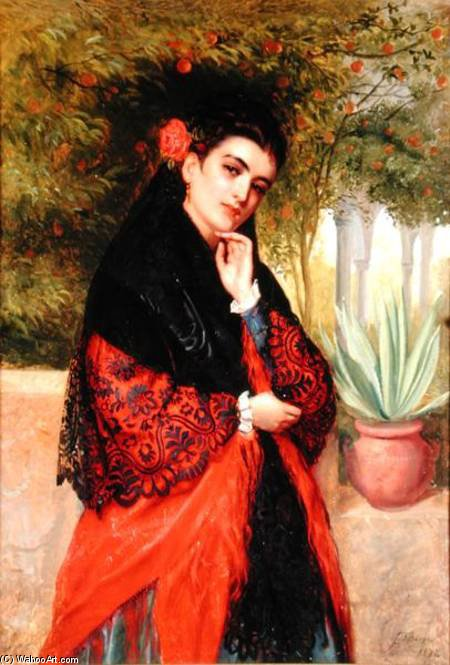 A Spanish Beauty by John Bagnold Burgess (1829-1897, United Kingdom) | Famous Paintings Reproductions | WahooArt.com