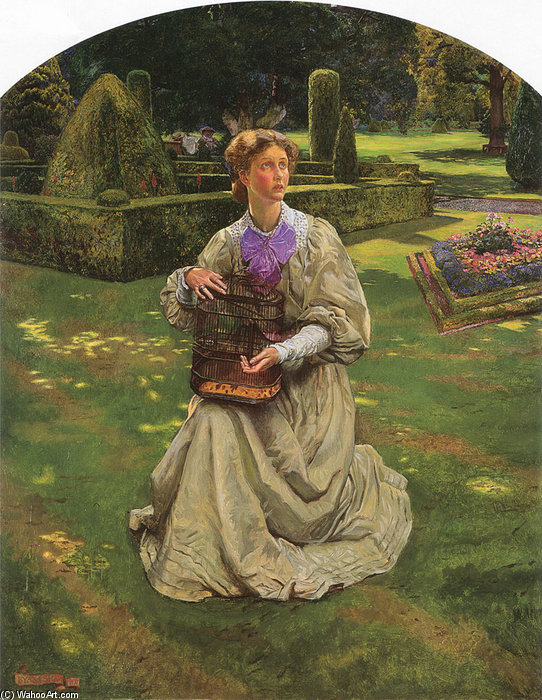 The Caged Bird by John Byam Liston Shaw (1872-1919, India) | Painting Copy | WahooArt.com