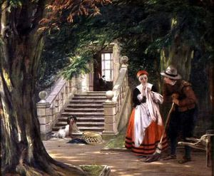 John Callcott Horsley - The Flirtation Outside The Master-s House