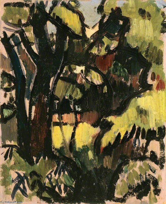 Dark Trees And Foliage by John Duncan Fergusson (1874-1961, Scotland) | Oil Painting | WahooArt.com