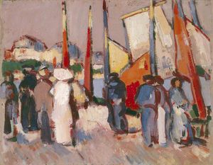 John Duncan Fergusson - People And Sails At Royan