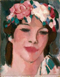 John Duncan Fergusson - Young Woman With Flowers