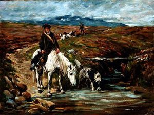 John Emms - Horse And Spaniel Drinking From A Stream