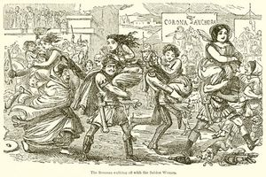 John Leech - The Romans Walking Off With The Sabine Women