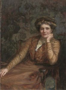 John Seymour Lucas - Portrait Of A Lady, Seated Three-quarter-length, In A Brown Dress, In An Interior