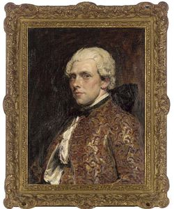 John Seymour Lucas - Portrait Of C. May Esq., Half-length, In An Embroidered Waistcoat And Jacket