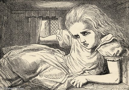 Alice Grows Too Tall For The Room by John Tenniel (1820-1914, United Kingdom)