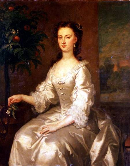 Portrait Of Mary, Countess Of Delorain By An Orange Tree by John Vanderbank (1694-1739, United Kingdom)