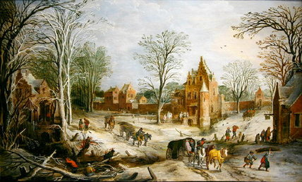 Order Famous Paintings Reproductions : A Winter Landscape by Joos De Momper (1564-1635, Belgium) | WahooArt.com