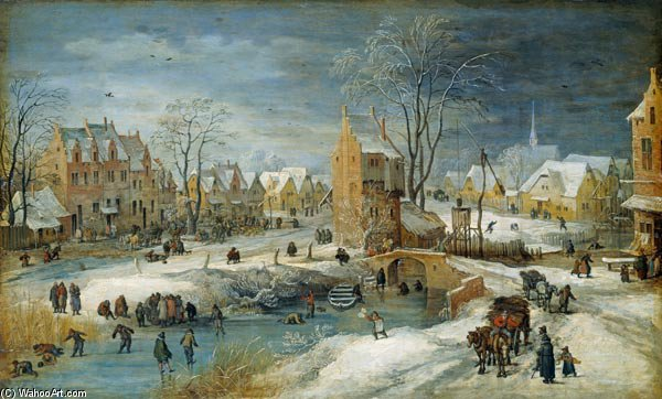 Village In Winter by Joos De Momper The Younger (1564-1635) | Oil Painting | WahooArt.com