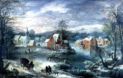 Village Landscape In Winter by Joos De Momper (1564-1635, Belgium) | Famous Paintings Reproductions | WahooArt.com