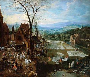 Joos De Momper - Women On The Edge Of A Flemish Town Washing Market Hustle And Bustle And Laundry