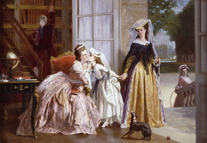 A Parting Kiss by Joseph Caraud (1821-1905, France) | Famous Paintings Reproductions | WahooArt.com