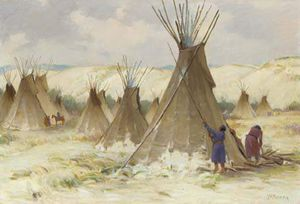 Joseph Henry Sharp - Early Winter On Crow Reservation, Montana