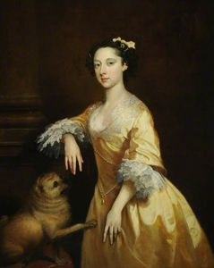 Joseph Highmore - Portrait Of A Lady With A Pug Dog