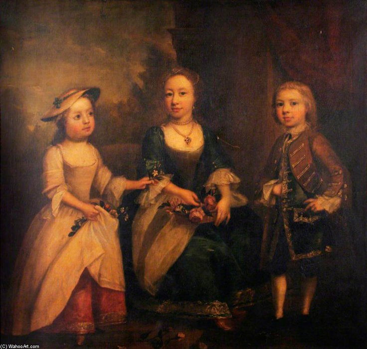 Portrait Of Three Children by Joseph Highmore (1692-1780, United Kingdom) | Museum Quality Reproductions | WahooArt.com