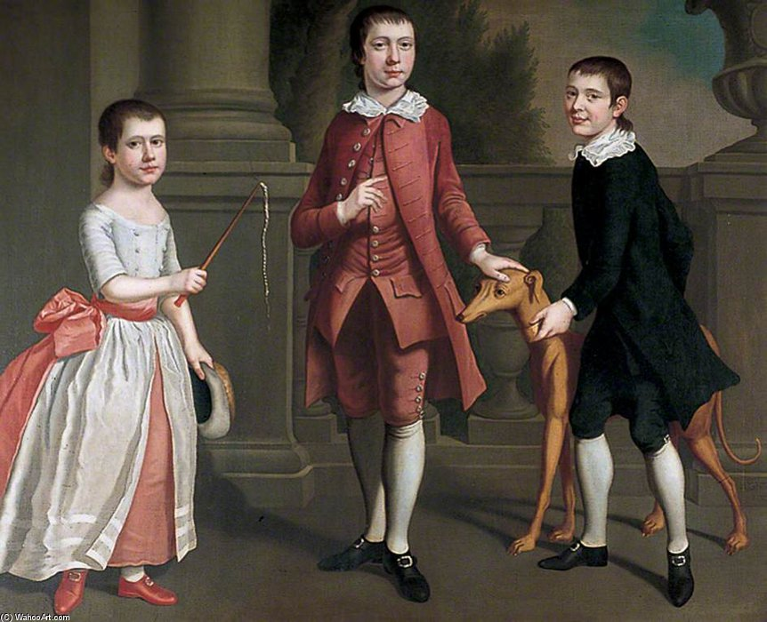 The Children Of Hughes Minet by Joseph Highmore (1692-1780, United Kingdom) | Museum Art Reproductions Joseph Highmore | WahooArt.com