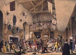 Joseph Nash - Twelfth Night Revels In The Great Hall,