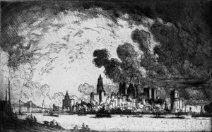 Joseph Pennell - New York, From Brooklyn