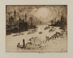 Joseph Pennell - Sunset From Williamsburg Bridge