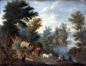 Joseph Van Bredael - A Wooded River Landscape With Travellers