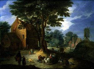Joseph Van Bredael - Village Scene With A Windmill