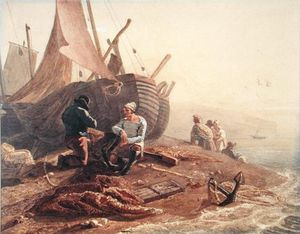 Joshua Cristall - Fishermen Mending Their Nets,