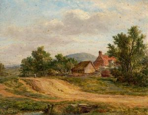 George Smith - A Country Road And Cottage