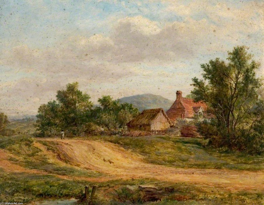 A Country Road And Cottage by George Smith (1713-1776, United Kingdom) | Museum Quality Reproductions | WahooArt.com