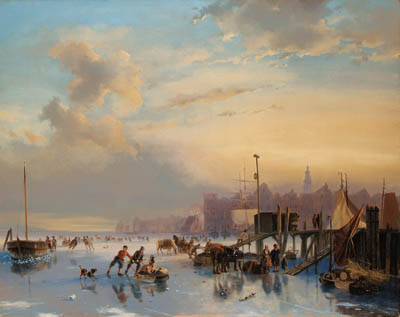 Order Oil Painting : Skaters On The Ij, Amsterdam by Nicolaas Johannes Roosenboom (1805-1880, Netherlands) | WahooArt.com