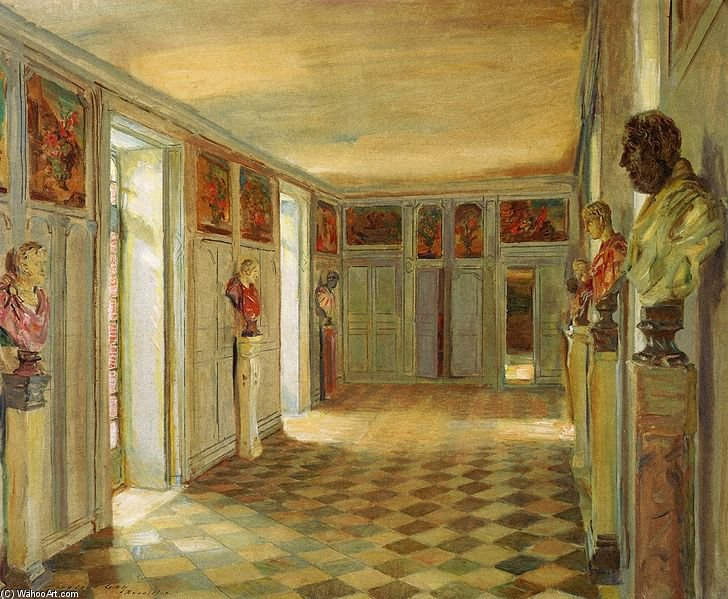 Galerie Des Bustes, Château Du Reveillon by Walter Gay (1856-1937, United States) | Art Reproductions Walter Gay | WahooArt.com