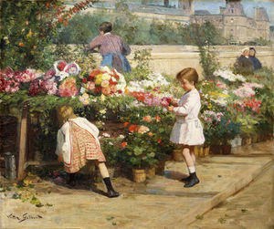 Victor Gabriel Gilbert - The Flower Market By The Seine