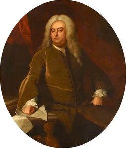 Thomas Hudson - Three-quarter-length Portrait Of A Seated Gentleman Wearing A Wig And Brown Coat