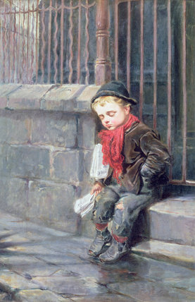 The News Boy by Ralph Hedley (1848-1913, United Kingdom) | Museum Quality Reproductions | WahooArt.com