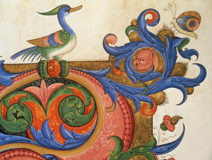 Order Painting Copy : Zoomorphic Foliage With Duck-like Bird And Butterfly, Detail Of Decoration Surround by Matteo Di Filippo Torelli (1365-1442) | WahooArt.com