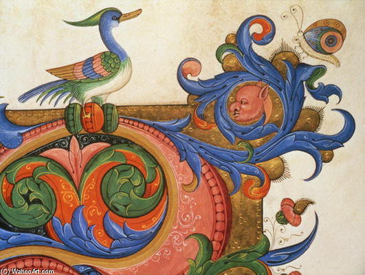 Zoomorphic Foliage With Duck-like Bird And Butterfly, Detail Of Decoration Surround by Matteo Di Filippo Torelli (1365-1442) | Painting Copy | WahooArt.com