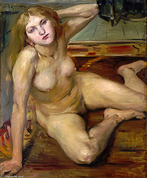 Nude Girl On A Rug by Lovis Corinth (Franz Heinrich Louis) (1858-1925, Netherlands) | Museum Quality Reproductions | WahooArt.com