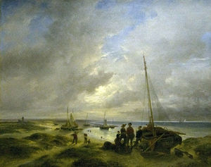 Andreas Schelfhout - Beach At Katwijk
