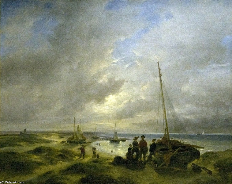 Beach At Katwijk by Andreas Schelfhout (1787-1870, Netherlands) | Art Reproduction | WahooArt.com