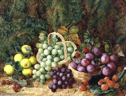 Order Oil Painting : Still Life With Apples And Baskets Of Grapes And Plums by George Clare (1835-1890, United Kingdom) | WahooArt.com