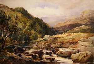 David Hall Mckewan - Landscape With Stream And Haymakers